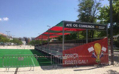 """Jogos de Portugal no Mundial transmitidos em ecrã gigante em """"mini-estádio"""" no Jardim da Liberdade"""