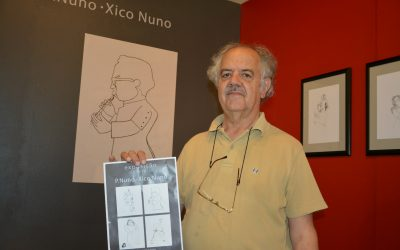 Desenho e pintura do Padre Chico Nuno no Fórum Actor Mário Viegas em Santarém
