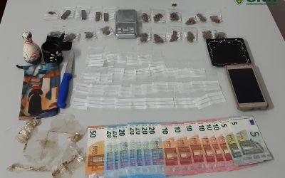 Traficante de droga detido em flagrante delito pela GNR