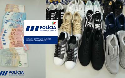 PSP apreende várias sapatilhas de marca contrafeitas, um carro, um telemóvel e dinheiro