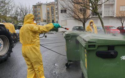Município, juntas e agricultores desinfectam ruas e equipamentos no concelho de Santarém