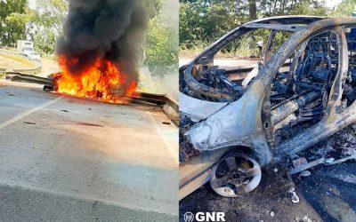 GNR de folga salva condutor de veículo em chamas na EN 118