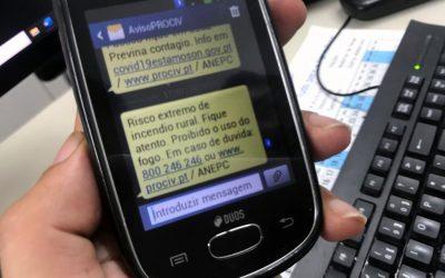 Proteção Civil envia SMS preventivo à população devido a risco extremo